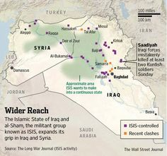 """""""Here's an updated map with clearly coded legend show ISIS gains in Syria and Iraq during lighting offensive"""" Information Graphics, Kurdistan, Insurgent, Political Science, Wall Street Journal, History Books, Syria, Middle East, Maps"""