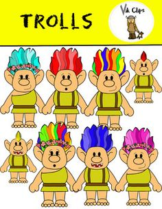 This 23 piece set comes with 14 vibrant, coloured images and 9 black and white versions. This set includes: - 4 girl trolls with purple, pink, rainbow, and turquoise hair- 6 boy trolls with red, orange, yellow, green, blue, and rainbow hair- 4 baby trolls with blue, yellow, red, and rainbow hair The images are all in high resolution and will still look fantastic if you decide to enlarge them.