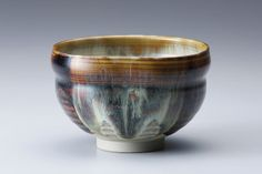 Miraku Kamei XV, Tea bowl, with glazing-in-halves (kakewake), stoneware, 3 x 4.5 x 4.5""