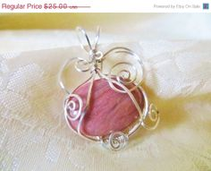 ON SALE Wire wrapped, Rhodonite pendant, argentium silver, handmade pendant, OOAK