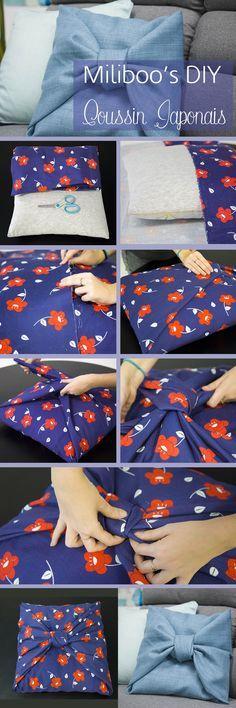 DIY Coussin Furoshiki : pas à pas sur le blog ! Coussin sans couture, façon pliage japonais.