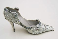 """Silk evening shoes with plastic, glass and metal beadwork, by Roger Vivier for House of Dior, French, 1957. Label: [stamped in shoe] """"Christian Dior créé par Roger Vivier, Paris"""""""