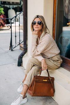 We're in Our 50s, Have Tried a Ton of Basics, and Now Rely on These 8 Easy Items Jeans And Sneakers, Citizens Of Humanity Jeans, Sweater Making, Wardrobe Basics, Who What Wear, Beautiful Outfits, Color Pop, Then And Now, Louis Vuitton Speedy Bag
