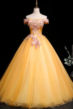 Tulle Ball Gown, Ball Gown Dresses, Prom Dresses, Sweet 16 Dresses, Pretty Dresses, Beautiful Dresses, Yellow Wedding Dress, Princess Ball Gowns, Royal Ball Gowns