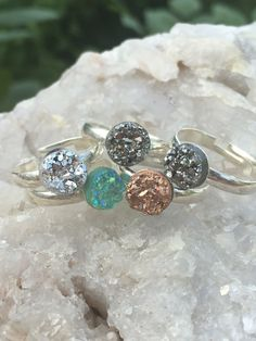 A personal favorite from my Etsy shop https://www.etsy.com/listing/458597126/faux-druzy-adjustable-silver-plated-ring