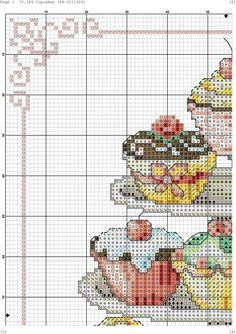 Cupcake Tier 1-4 Cupcake Cross Stitch, Xmas Cross Stitch, Cross Stitch Kitchen, Cross Stitching, Cross Stitch Embroidery, Cross Stitch Designs, Cross Stitch Patterns, Cross Stitch Magazines, Needlepoint Patterns