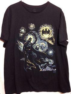 DC Comics Batman Starry Night Black Men's T-shirt Size 2XL #DCComics #GraphicTee
