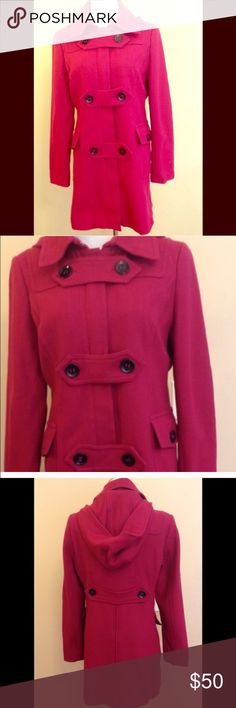 Beautiful Magenta Coat Size Medium, St.John's Bay Beautiful coat with removable hood. Size medium. No flaws.  Coat is too small for me so I can't model this coat.  Make a reasonable offer. St. John's Bay Jackets & Coats
