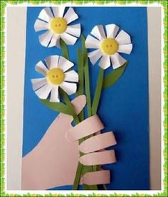 New flowers art projects for kids spring craft ideas ideas Kids Crafts, Spring Crafts For Kids, Preschool Crafts, Projects For Kids, Art For Kids, Art Projects, School Projects, Flower Cards, Paper Flowers