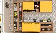 Cozinha Modulada Completa 5 Módulos Fruits Avelã/Maracujá/Granito Preto - Urbe Móveis | Lojas KD