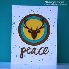 Peace Card by @angelrenee using #EssentialsbyEllen dies. #PrizeStag #BrushstrokePeace #ellenhutsonllc Switch out the sentiment and it would make a great MASCULINE BIRTHDAY Card.