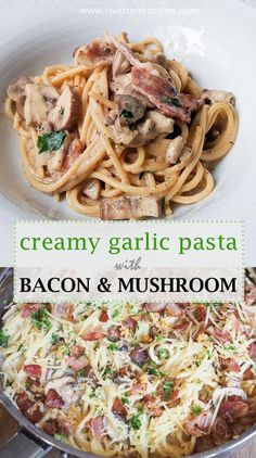 Creamy Garlic Pasta with Bacon and Mushroom! It is in all aspect, an honest-to-goodness decadent and ultra-luxurious pasta dish. What's in the sauce? Crispy bacon, mushroom, and toasted garlic—smothered in a rich and creamy sauce. Creamy Garlic Pasta, Creamy Garlic Mushrooms, Creamy Sauce, Creamy Pasta Dishes, Creamy Pasta Recipes, Bacon Pasta Recipes, Spaghetti Recipes, Bacon Recipes For Dinner, Garlic Spaghetti