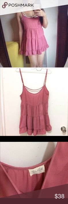 Brandy melville rose pink begonia jada dress Rare brandy melville rose pink begonia babydoll jada dress. Open back and tiered. Super cute for a cover up or wear out. Only several of these has been sold.  Selling at the price I bought it for! Smoke free home Ships next day  I do bundles View pics for condition Brandy Melville Dresses Mini