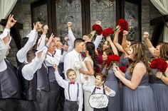 First kiss!  Bride and groom surrounded by family.  Celebrating!  The Sterling Castle.   Birmingham, AL  Live Free Photography -   www.livefreephoto.com  Birmingham, AL, Seaside, FL. Nashville, TN.   Bohemian  Wedding Photography