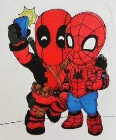#Deadpool #Fan #Art. Chili Deadpool and Spider-Man) By: Dereklaufman. (THE * 5 * STÅR * ÅWARD * OF: * AW YEAH, IT'S MAJOR ÅWESOMENESS!!!™)[THANK U 4 PINNING!!!<·><]<©>ÅÅÅ+(OB4E)     https://s-media-cache-ak0.pinimg.com/564x/39/19/7a/39197ad64f05ec1e24d9d82fc5adeefd.jpg