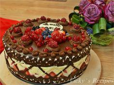 Tort cu fructe, cremă diplomat cu mascarpone şi blat de ciocolată Pistachio Torte Recipe, Strawberry Torte Recipe, Blueberry Torte, Lemon Torte, Apple Torte, Raspberry Torte, Apple Recipes, Cookie Recipes, Dessert Recipes