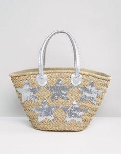 Pia Rossini Large Silver Star Beach Bag - Silver