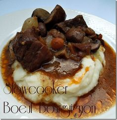 Beef Bourguignon in the slowcooker. You wont believe how good this is and it will feed 12!