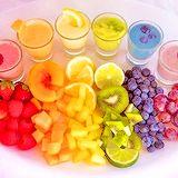 Rainbow food with matching drinks