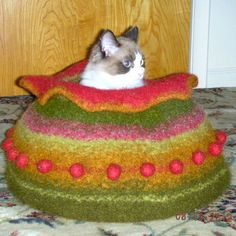 cat bed felted kitty kave made to order by kceknits on Etsy, $118.00