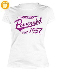 Sexy Damen T-Shirt zum 60. Geburtstag German Powergirl seit 1957 cooles Geschenk zum 60 Geburtstag Freundin Schwester 60 Jahre Geburtstagsgeschenk Geburtstagsshirt Mama Gr: S (*Partner-Link)