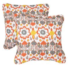 Floral Citrus Corded Indoor/ Outdoor Square Pillows (Set of 2)