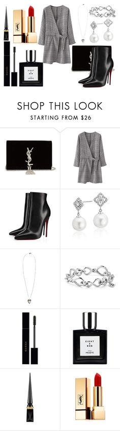 """Black"" by goldelina on Polyvore featuring мода, Yves Saint Laurent, Christian Louboutin, Blue Nile, Alexander McQueen, David Yurman и Gucci"