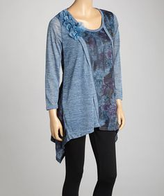 Look what I found on #zulily! Pretty Angel Blue Floral Linen-Blend Sidetail Tunic by Pretty Angel #zulilyfinds
