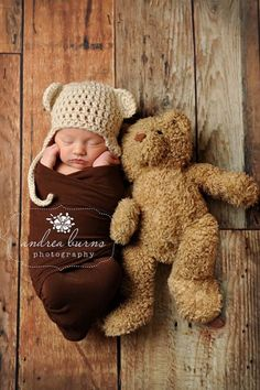 """""""True to size"""".  With stuffed animal.  Newborn Photos To Inspired Your First Photography Session"""
