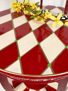 Tabla pintada whimsical Arlequín pintada tabla de extremo