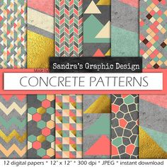 "Digital paper: ""CONCRETE PATTERNS"" with modern geometric patterns on concrete texture, in pastel colors and gold (424)"