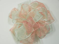 Wedding/ Pew Bows set of 10 Mint and rose by creativelycarole