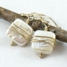 Square White Pearl Swirl Wrapped Earrings Gold. $32.00, via Etsy.