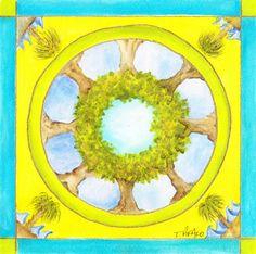 Original Watercolor Tree Mandala