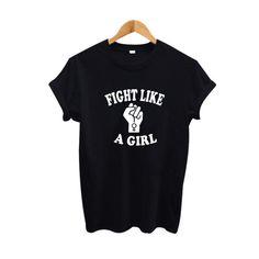 Lucha como una muchacha camiseta tumblr inconformista mujeres lema Camiseta Feminista camiseta Signo Gráfico 2017 Tops de Verano de Las Mujeres ropa