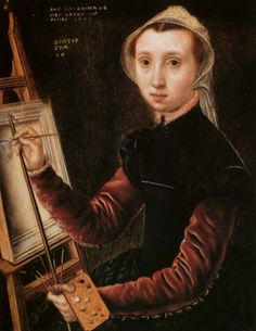 Catharina van Hemessen, Self-portrait at the easel, 1548