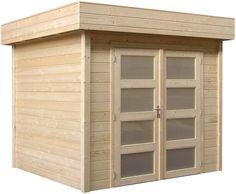 Tuinhuisje / blokhut  met plat dak model Kolibri met afmetingen 250 x 250 cm van Woodvision Tiny House, Garage Doors, Sweet Home, Shed, Home And Garden, Decoration, Outdoor Decor, Model, Ideas