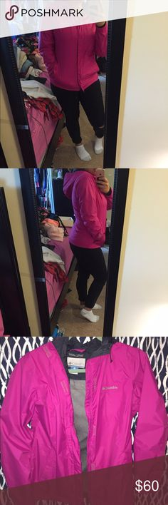 Super sale! Magenta Columbia Rain Jacket Size Medium, SUPER ADORABLE AND CUTE. Looks amazing on, I love it but I really need some money! NO FLAWS Columbia Jackets & Coats
