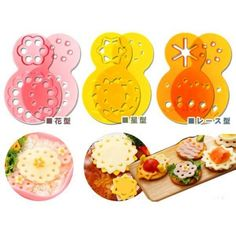 Decorative Bento Ham Cheese Cutter 12 designs Lace for Deco Cutter Bento Box, Lunch Box, Cheese Cookies, Ham And Cheese, Food Art, Yummy Food, Shapes, Boxes, Design