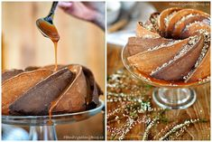 Třená bábovka se slaným karamelem (bundt cake with salty caramel) Caramel Apples, Treats, Fresh, Ethnic Recipes, Sweet, Kitchen, Bundt Cakes, Desserts, Food