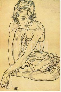 Egon Shiele, Woman Crouching, 1918 on ArtStack #egon-shiele #art