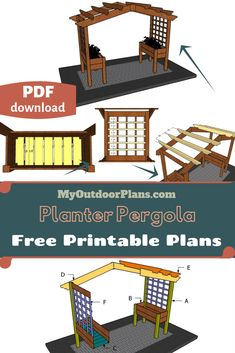 This step by step diy project is about planter pergola plans. This pergola / arbor features two large planters on both sides with the corresponding trellis. This is a simple weekend project that you could build on a small budget. Pergola Swing, Pergola Shade, Pergola Patio, Pergola Kits, Pergola Planter, Pergola Ideas, Plastic Planters, Large Planters, Free Pergola Plans
