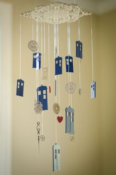 This mobile will be fantastic for your little Whovian! Or, if you're like me, you can hang it in your home library or bedroom.