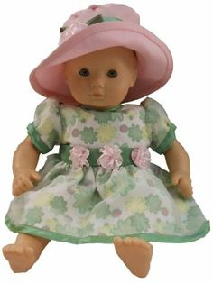 "The Queen's Treasures Floral Summer Dress, 15"" Doll Clothes Fits American Girl Bitty Baby Doll by The Queen's Treasures. $21.99. A beautifully detailed floral dress and hat looks amazing on 15"" dolls like a Bitty Baby. Coordinating pink hat Dress also available in 18"" American Girl Doll size. Included is a chiffon lined green floral dress accented with pink ribbon flowers. Beautifully detailed doll clothes outfit to fit any Bitty Baby or 15"" baby dolls. Design..."