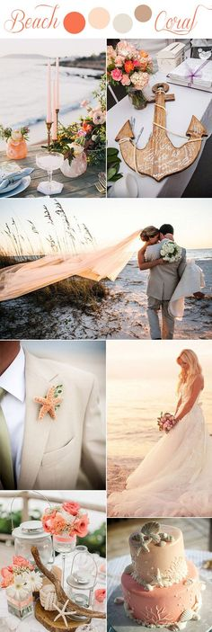 romantic coral and beige color themed rustic beach wedding ideas