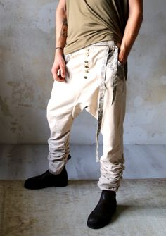 UNI PREMIUM - classic drop crotch pants with funky details #ClothingForUrbanNomads #VALODesign #finnishdesign #ethicalfashion #dropcrotch #BedouinClothing #casualdropcrotch