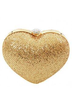Bag Gold Sequin Embellished Heart Clutch Bag