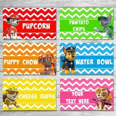 CUSTOMIZED Paw Patrol Food Labels Paw by VeronicaVaselinArts
