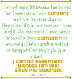 contentment = trusting & believing who God is in our daily lives