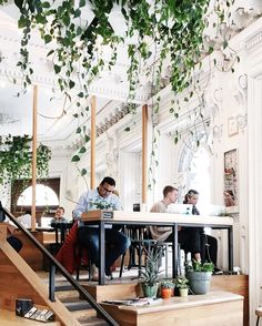 cafe restaurant If I ever have table like that; maybe Id attach printed cloth to the underside to cover the legs there Restaurant Concept, Cafe Restaurant, Restaurant Design, Coffee Shop Design, Cafe Design, Store Design, Cafe Bistro, Cafe Bar, Interior Plants